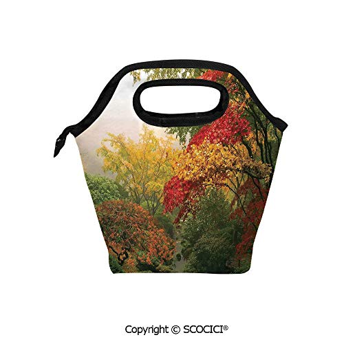 Insulation portable lunch box bag Maple Trees in the Fall at Portland Japanese Garden One Foggy Morning Scenery Soft Fabric lunch bag Mummy bag.