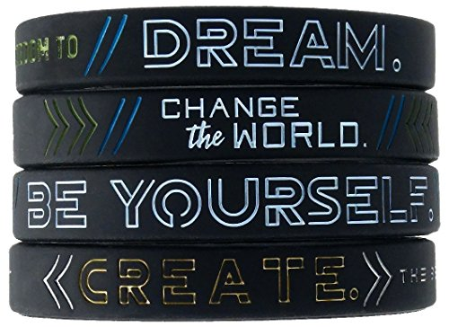 Inkstone - Dream, Change The World, Be Yourself, and Create - Set of 4 Inspirational Motivational Silicone Wristbands in Adult Unisex Size