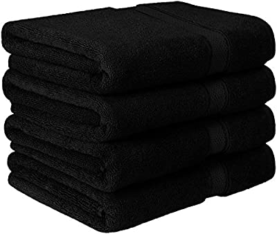 600 GSM Luxury Cotton Bath Towels (4 Pack, 27 x 54 Inch) by Utopia Towels (Black)