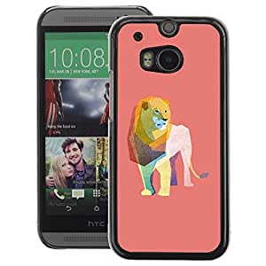 A-type Arte & diseño plástico duro Fundas Cover Cubre Hard Case Cover para HTC One M8 (Lion Watercolor Polygon Art Peach Pink)