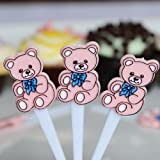 Teddy Bear Cupcake Picks - Pink (30 Count)