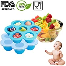 Baby Food Freezer Tray Storage Container with Clip-on Lid, BPA Free & FDA Approved, For Homemade Baby Food, Vegetable & Fruit Purees, Ice Cube, Pudding by Amison (Blue)