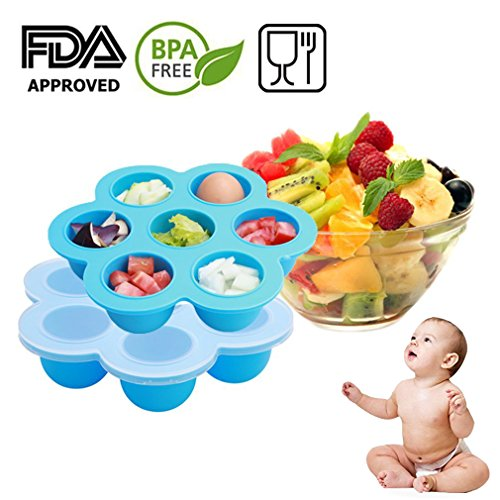 Baby Food Freezer Tray Storage Container with Clip-on Lid, BPA Free & FDA Approved, For Homemade Baby Food, Vegetable & Fruit Purees, Ice Cube, Pudding by Amison (Snack Cube)