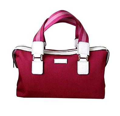 12bf905b5ba2 Amazon.com  Gucci Boston Bowling Bag Canvas Handbag 264210 (Fuchsia ...