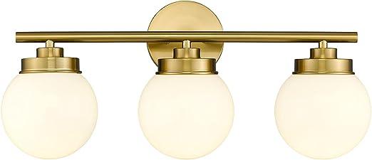Gold Bathroom Light Fixtures, LMS 3 Light Globe Bathroom Vanity Lights with White Glass Shade, LMS-098