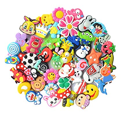 741f0210a4989 Amazon.com  YAOYAO Different 50 Pcs PVC Shoe Charms for Croc   Jibbitz  Bands Bracelet Wristband  Toys   Games