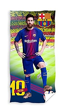 FCB Messi Barcelona Football Club - Toalla de Playa (Tamaño Grande, 70 x 140 cm, 100% Algodón): Amazon.es: Hogar