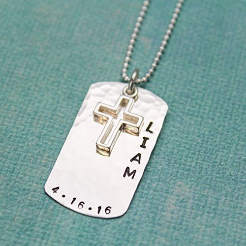 Holy Jewelry Communion First (Personalized Cross Necklace for Boys, Cross Necklace Dog Tag, Holy Confirmation or First Communion Gifts, Sterling Silver)