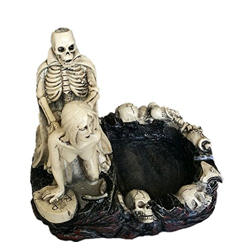 HEYFAIR Halloween Skulls Sexy Statue Sculpture Nude Woman Home Cigarette Ashtray (B)]()