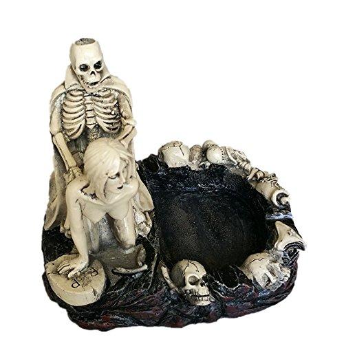 HEYFAIR Halloween Skulls Sexy Statue Sculpture Nude Woman Home Cigarette Ashtray (B)