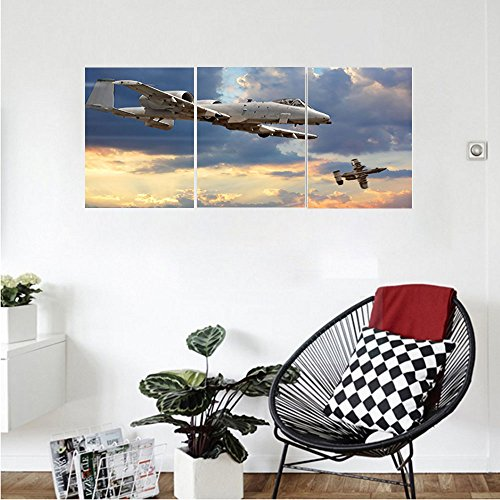 Rubber Peacekeeper (Liguo88 Custom canvas Airplane Decor Wall Hanging Peacekeepers Mission Jet Up International Military Force Combat Metalic Flight Picture Bedroom Living Room Decor Blue Silver)