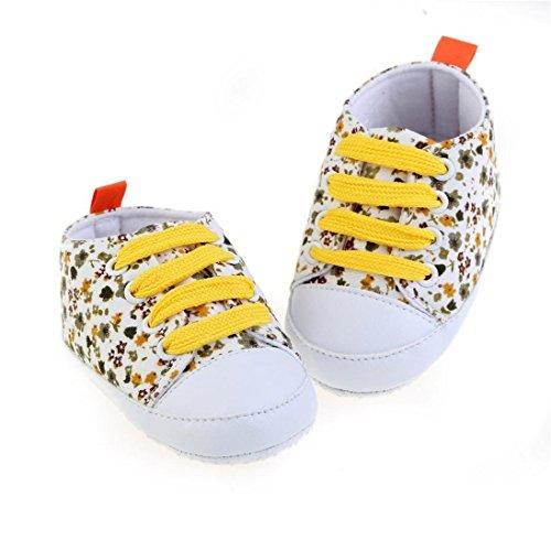 Gemini _ Mall® Baby Mädchen Kleinkind weiche Sohle Anti-Rutsch Baby Leinwand Floral Lace Up Schuhe Sneaker (12~ 18Monate, Gelb)