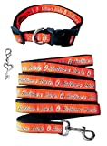 Baltimore Orioles Nylon Collar and Matching Leash (MLB Official by Pets First - Size Medium) with Chrome Heart Key Charm