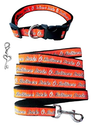 Mlb Baltimore Orioles Charm (Pets First Baltimore Orioles Nylon Collar and Leash (MLB Official - Size Large) with Chrome Heart Key Charm)