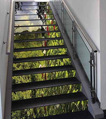 Stair Stickers Wall Stickers,13 PCS Self-adhesive,Forest,Rural Scenery Costa Rica Countryside Greenery Tropic Accents Botanical,Green Red Violet Blue,Stair Riser Decal for Living Room, Hall, Kids -