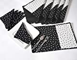 Luxury Napkin & Placemat Table Linens Set - Includes 6 Place Mats & 6 Napkins - Reversible - 100% Cotton - Black & White Scatter