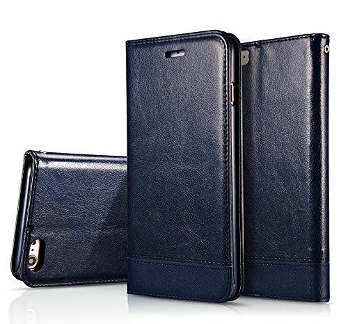 iPhone 6 6s Case,Liujie New style Premium PU Leather Wallet Case Cover with Built-in Credit Card/ID Card Slots for iPhone 6 6s Case. (dark blue)