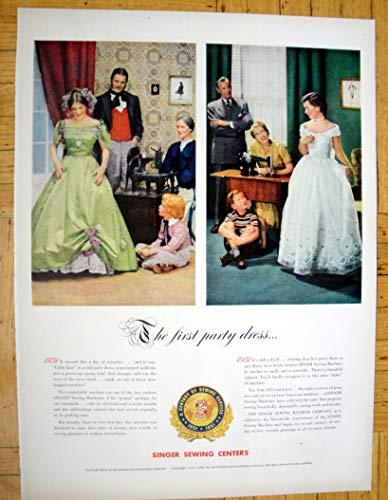 Vintage Ads Appliance (1951 Singer Sewing Centers-1st Party Dress -Original 13.5 * 10.5 Magazine Ad)