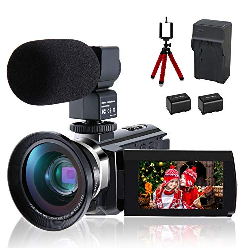 CofunKool Ultra 4K Video Camera WiFi Camcorder 48MP YouTube 270° Flipping IPS Touch Screen Vlogging Camera with External Microphone Wide Angle Lens Mini Tripod, Support USB, TV Output