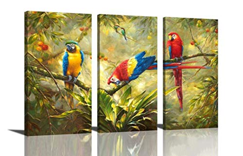 Rainforest Animal Pictures - HLJ ART Original Artwork 3 Panel Abstract Macaw Parrot in Tropical Rain Forest Animals Picture Canvas Print Wall Art Painting for Living Room Decor and Modern Home Decorations (Wood Framed)