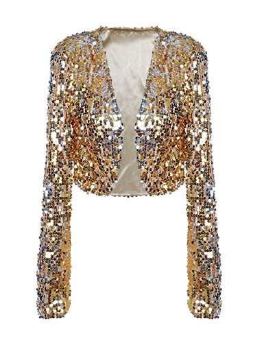 Gold Womens Jacket (PrettyGuide Women Sequin Cropped Jacket Long Sleeve Sparkly Bolero DS Clubwear Gold XL/US12-14)