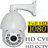 USG HD-CVI PTZ Speed Dome Security Camera 1080P 2MP 4.7-84.6mm Motorized Zoom + Auto-Focus Lens: HD 1920x1080, 500 Feet Night Vision, IR-Cut, WDR, Motion Detection, DNR, Precision Drive Motor