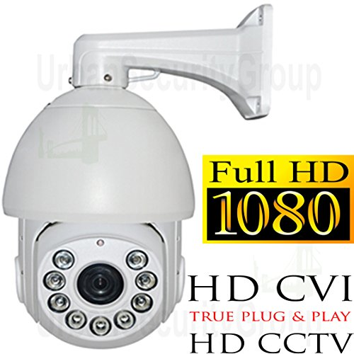 USG HD-CVI PTZ Speed Dome Security Camera 1080P 2MP 4.7-84.6mm Motorized Zoom + Auto-Focus Lens: HD 1920x1080, 500 Feet Night Vision, IR-Cut, WDR, Motion Detection, DNR, Precision Drive Motor by Urban Security Group