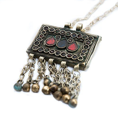 Duel on Jewel Tribal Antique Turkman Baloch Small Square Pendant with Bells in Lapis Lazuli (Exotica Pendant)