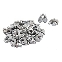 uxcell® M5 5mm 3/16 Inch Metal Wire Rope Saddle Cable Clamps Clips Silver Tone 20PCS
