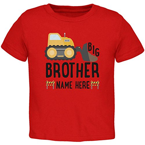 (Custom Big Brother Construction Truck Digger Name Date Toddler T Shirt Red Toddler Size)
