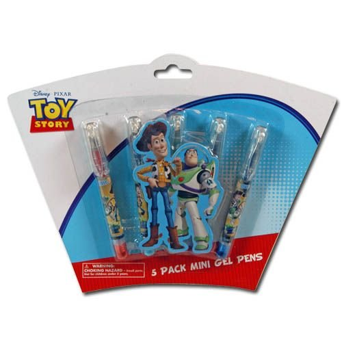 5pk Toy Story 3 Mini Gel Pens on Shaped 3D Blister Card