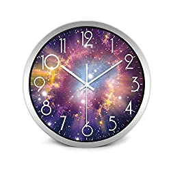 Wenzi-day Moon Sky and Mars 3 Styles Glass&Metal Silent Movement Wall Clock,A111S,12 inch