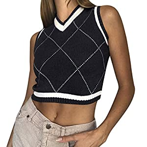 Heflashor Femme Gilet Carreaux en Tricot Noël Pull sans Manches Blouson Casual Lâche Pull Pullover V-Cou Sweater Casual…