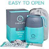 Energify Vacuum Insulated Food Jar - Stainless Steel Food Thermos, Soup Bowl, Lunch Container, Blue