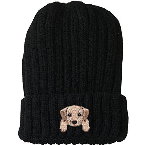 [ Labrador Retriever ] Cute Embroidered Puppy Dog Warm Knit Fleece Winter Beanie Skull Cap [ Black ]