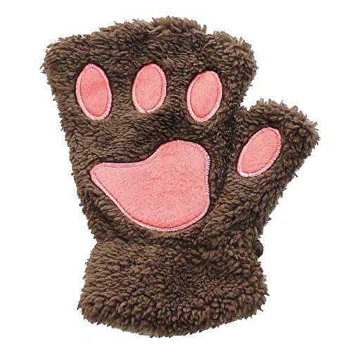 くま 手袋 もこもこ 冬 インスタ 自撮り 可愛い かわいい てぶくろ 熊 コスプレ 防寒 あったか フィンガ フィンガーレス 穴あき 穴 指あり クマ 動物 人気 便利 写真