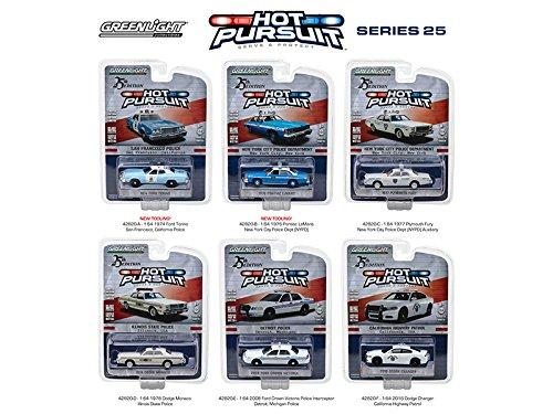 Lemans 3 Car Set (Hot Pursuit Series 25, 6pc Set 1/64 Diecast Model Cars by GreenLight 42820SET)
