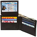 Genuine Leather Wallet Mens Bifold 6 Card Slot RFID Blocking