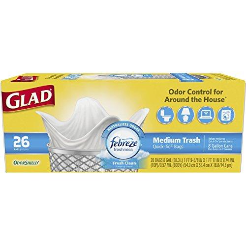 Glad Medium Quick-Tie Trash Bags - OdorShield 8 Gallon White Trash Bag, Febreze Fresh Clean - 26 Count Each (Pack of ()