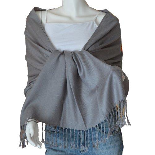 SCARF_TRADINGINC® Large Soft 100% Twill Pashmina Scarf Shawl Wrap (Grey)
