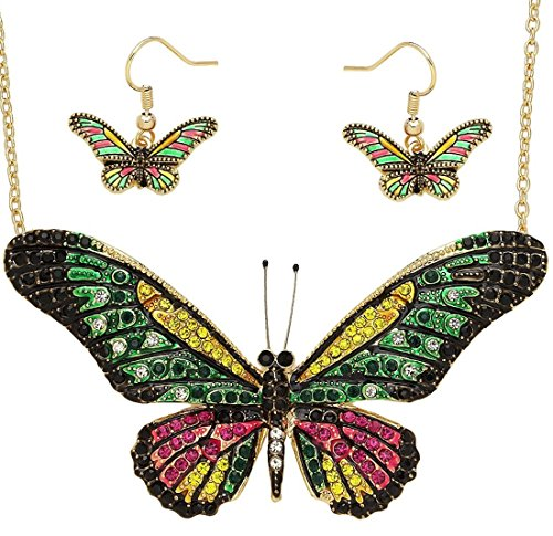 DianaL Boutique Large Butterfly Necklace and Earrings Set Enameled Gold Plated Fashion Jewelry