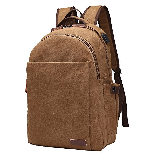 Canvas Vintage Laptop Backpack, ORSIEC Business Water Resistant Rucksack School Travel Slim Bag Casual College Bookbag with USB Charging Port for Men Women Fits 15 Inch Laptop and Computer (Brown)