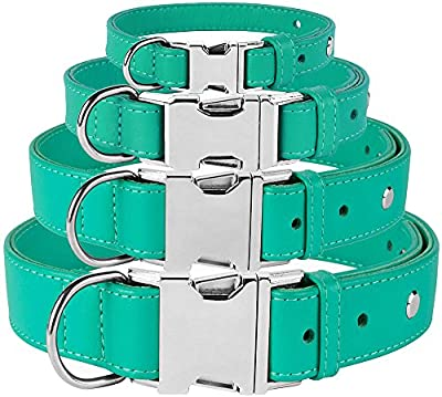 CollarDirect Leather Dog Collar Metal Buckle Soft Genuine Colorful Pet Collars Dogs Puppy Small Medium Large Black Red Pink Blue Green Orange