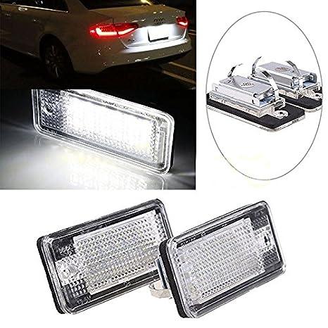 18 LED libre de errores de la matrícula Lámpara de luz para A3 A4 B6 B7 A6 A8 Q7 A5: Amazon.es: Coche y moto