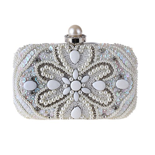 White Evening Diamond Banquet Fashion Handbag Dinner Shimmer for Elegant Clutch Pearl Women Bag Bag Prom Wedding xBFCZ