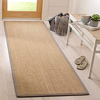 "Safavieh NF141G-28 Natural Fiber Collection Multi Runners, 2'6"" x 8', Maize/Grey - These rugs are made of natural materials such as jute, Sisal, and sea grass Each rug is Hand made and Hand Woven Great for any home, from a beach house to a City apartment - runner-rugs, entryway-furniture-decor, entryway-laundry-room - 517rRWZWz0L. SS400  -"