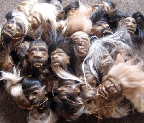 Daprofe One(1) Shrunken Head Real Leather Rawhide 5 Inch Size SHIPS FROM ECUADOR (Shrunken Leather)