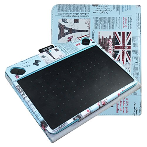 Mama Mouth Slim-Book Folio Carry PU Leather Cover for Wacom Intuos Medium Art CTH690AK CTH690AB / 3D CTH690TK / Comic CTH-690/K1 CTH-690/B1 Digital Drawing Tablet,Newspaper