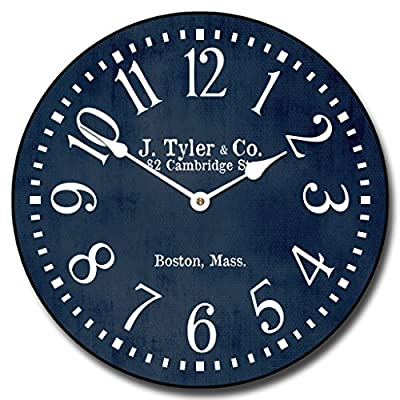 "Navy Blue Wall Clock, Available in 8 Sizes, Most Sizes Ship The Next Business Day, Whisper Quiet. - LIFETIME  WARRANTY.  We will replace your mechanism (not the entire clock) for as long as you own it. Mechanisms are tested before mailing, however, if it is damaged in shipping we will mail you a replacement. Some assembly is required to replace the mechanism. Our contact info is on clock back. (The warranty is through us not Amazon). SILENT QUARTZ MECHANISMS! Our clocks are very quiet. No annoying ticking!! Our clocks sit flat against the wall and do not wobble. The mechanisms are as recessed as possible, which makes for a nicely finished product. HANDMADE IN AMERICA BEAUTIFUL **PRINTED** FACE ON SOLID PIECE of 1/"" MDF WOOD PRODUCT. The face is NOT a sticker. It is printed directly on the wood. Our clocks feel solid because of the thicker mdf wood. Our edges are nicely rounded. It takes us just a few days to make your clock. We are usually much faster than is listed. - wall-clocks, living-room-decor, living-room - 517rRq1GbVL. SS400  -"