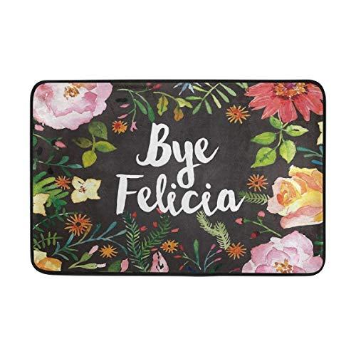 Andrea Back Doormat Entrance Doormat Bye Felicia Flower Door Mat Outdoor Indoor Cotton interlayer Polyester Fabric Top 15.7x23.6 Inch 16 x 24 Inch ()